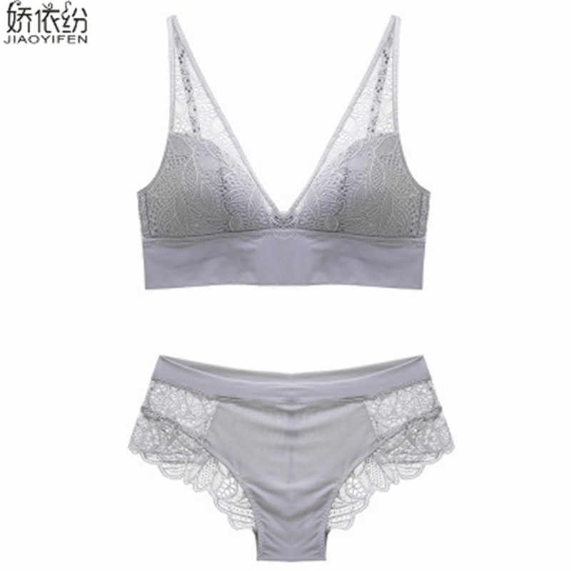 bca8759a66510 ... Europe Sexy Lace Bra Set Full Cup Push Size Women Underwear Transparent Lace  Bra and Panty ...