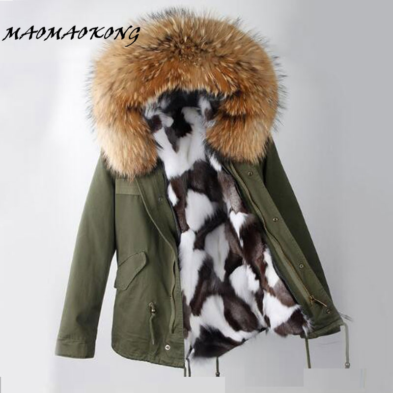 Winter Jacket Women 2017 short Army Green Parka Coats Real Large Raccoon Fur Collar Fox Fur Lining Hooded Outwear Free DHL EMS kohuijoos 3xl winter women army green large raccoon fur collar hooded coat warm detachable natural fox fur lining parka coats