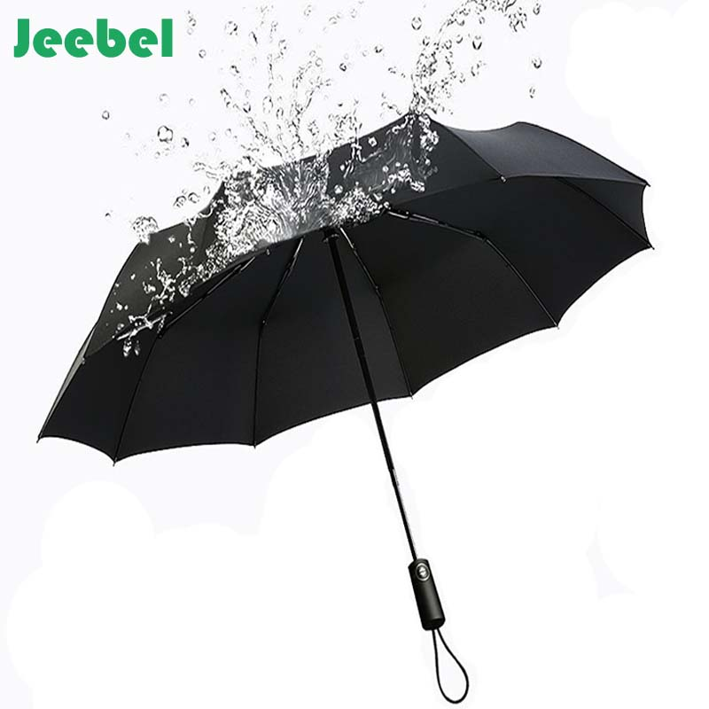 Jeebel En Cuir Poignée Incurvée Hommes Automatique D'affaires Parapluie Mâle Coupe-Vent Noir Grand Parapluies Parasol Pluie