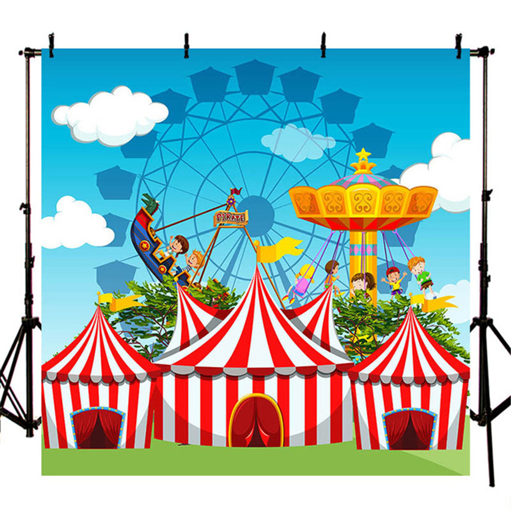 US $19 0 24% OFF|Circus Birthday Party Photography Backdrop Printed Blue  Sky Clouds Cartoon Amusement Park Baby Kids Children Photo Backgrounds-in