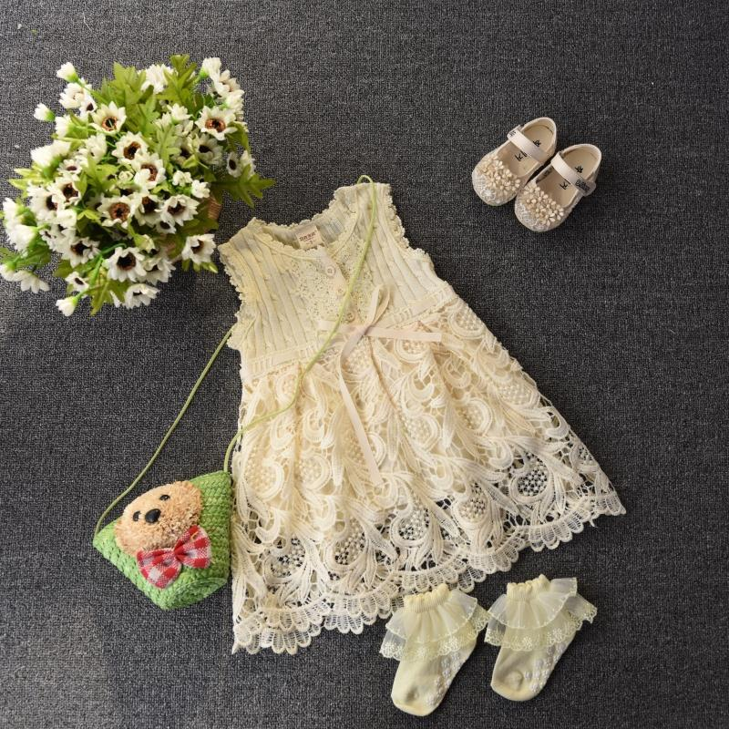 EMS DHL Free Shipping toddler Little Girl's Cream Crochet Dress Sleeveless Baby Dress Children's Clothes ps 5201 02 hk300 83fp dps 275lb a a4600r used disassemble dhl ems free shipping