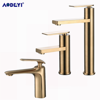 Bathroom Faucet Solid Brass Bathroom Basin Faucet Cold And Hot Water Mixer Sink Tap Single Handle Deck Mounted Brushed Gold smesiteli rose gold bathroom basin faucet 100% brass single handle cold and hot water mixer brushed gold rose tap