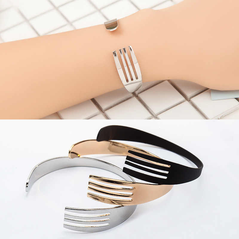 Silver Black Gold Color Knife Fork Bracelets Open Cuff Bangles For Women Men Fashion Jewelry Hand Accessories Adjustable