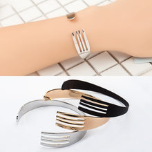 Silver Black Gold Color Knife Fork Bracelets Open Cuff Bangles For Women Men Fashion Jewelry Hand Accessories Adjustable(China)
