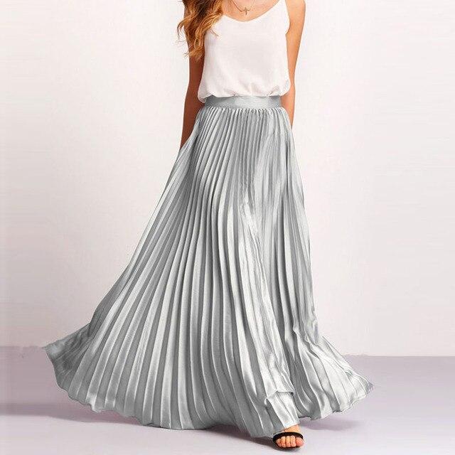 2fed567b2f Fashion Pleated Flare Maxi Skirt Zipper Side High Waist Floor Length Women  Beach Long Skirt Vintage Chiffon Saia Longa Faldas