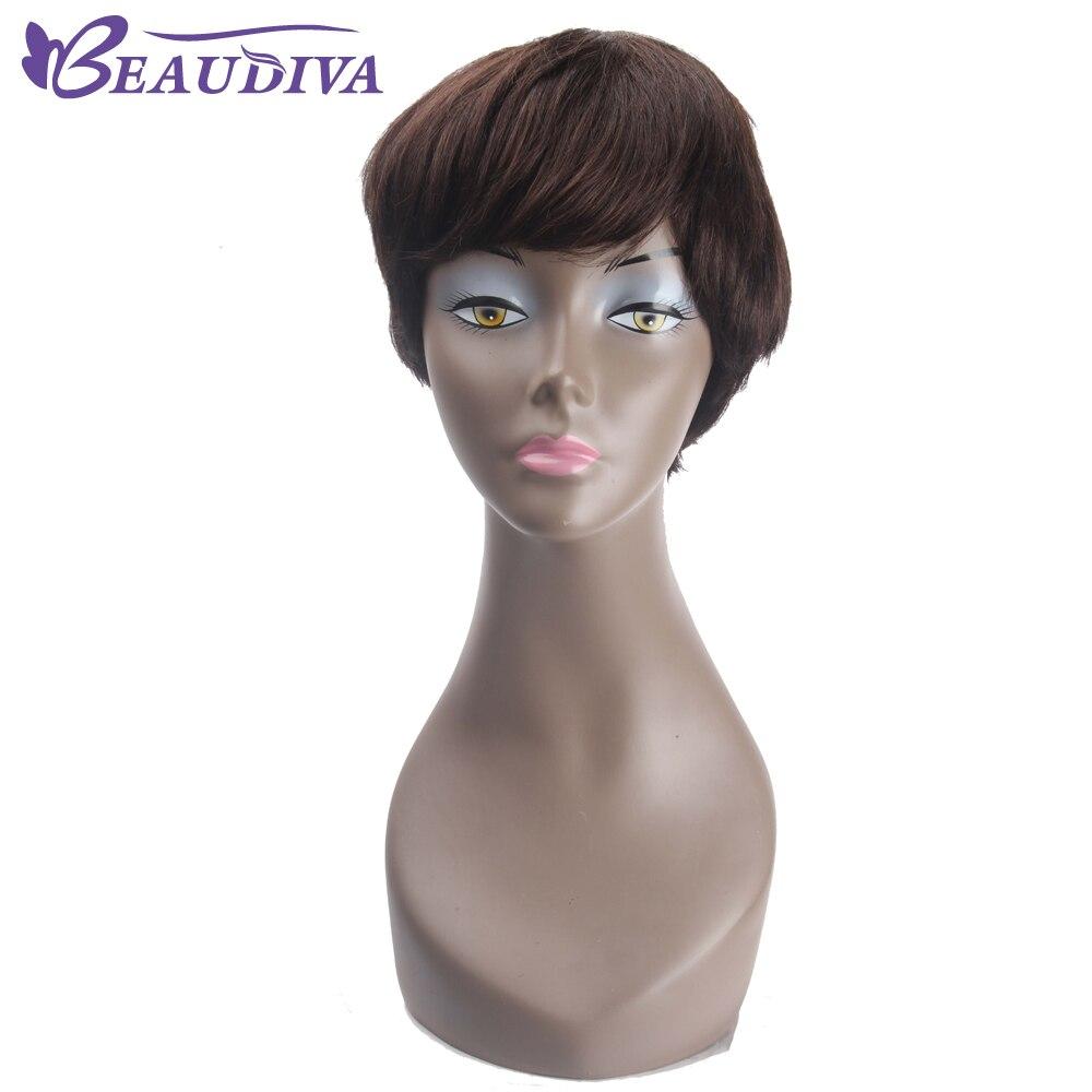BEAUDIVA короткие парики человеческих волос парик человеческих волос парики 130% плотность 2 # темно-коричневый Цвет бразильский Синтетические в...