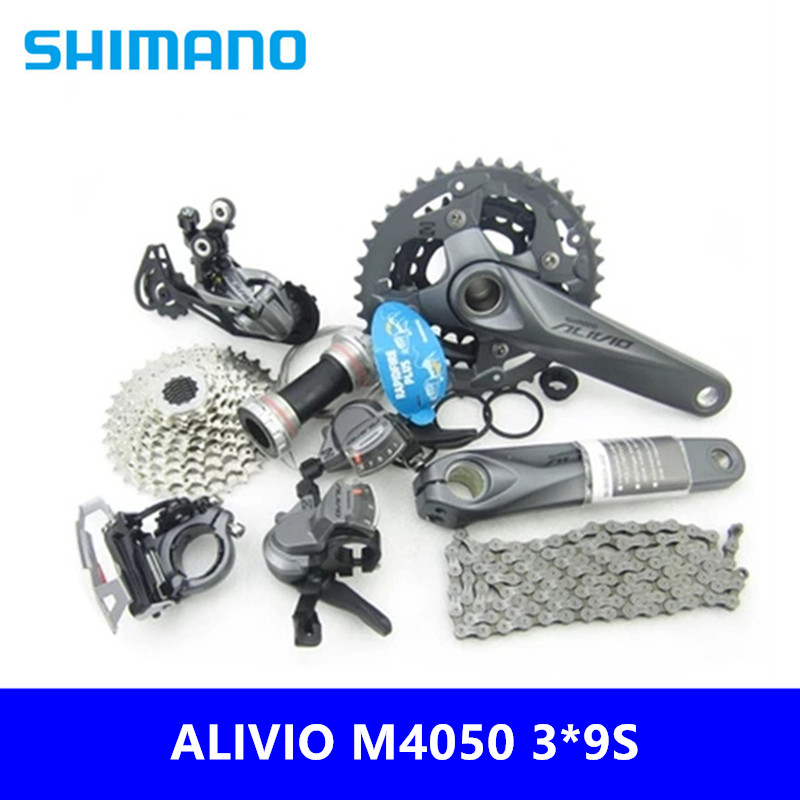 Bicycle Derailleur Cycling Shimano Alivio M4000/m4050 Kit 9s/27 Speed Mountain Bike Shift Kit 170/175mm 7 Piece Set Brand New Original Free Shipping Selected Material