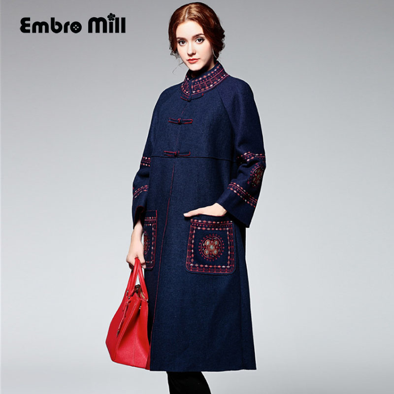 High-end Winter Trench Coats For Women High Quality Puls Size Vintage Elegant Flowers Woolen Embroidery Overcoat Ladies M-XXXL