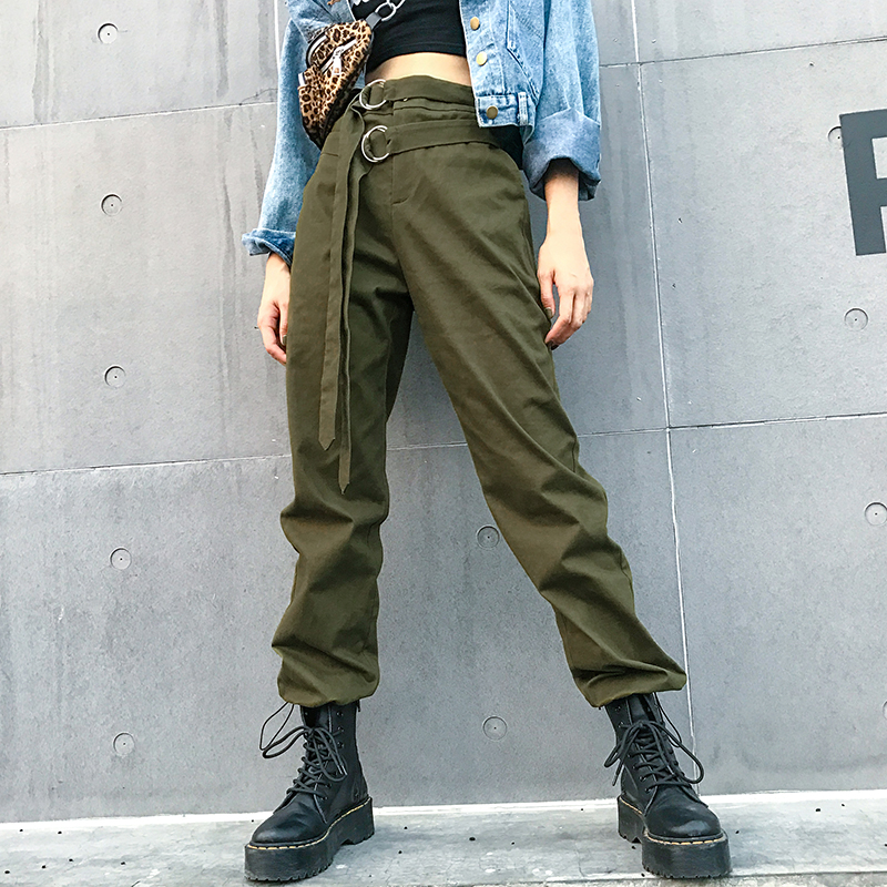 Women Hip Hop Patchwork Cargo   Pants   High Waist Zipper Track   Pants     Capris   Solid Sashes Trousers Female Summer Casual Cargo   Pants