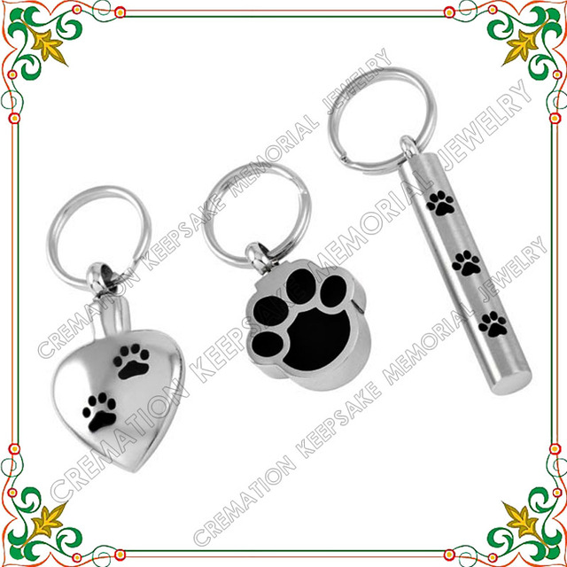 CMJ8309 Hot selling cremation jewelry key chain three set of paw print pet urn cheap wholesale
