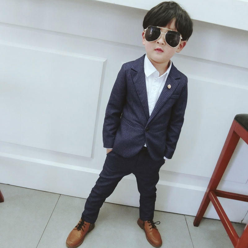 2018 new arrival fashion baby boys kids striped designer boy suit for weddings formal blue wedding boy suits 2pcs jackets pant