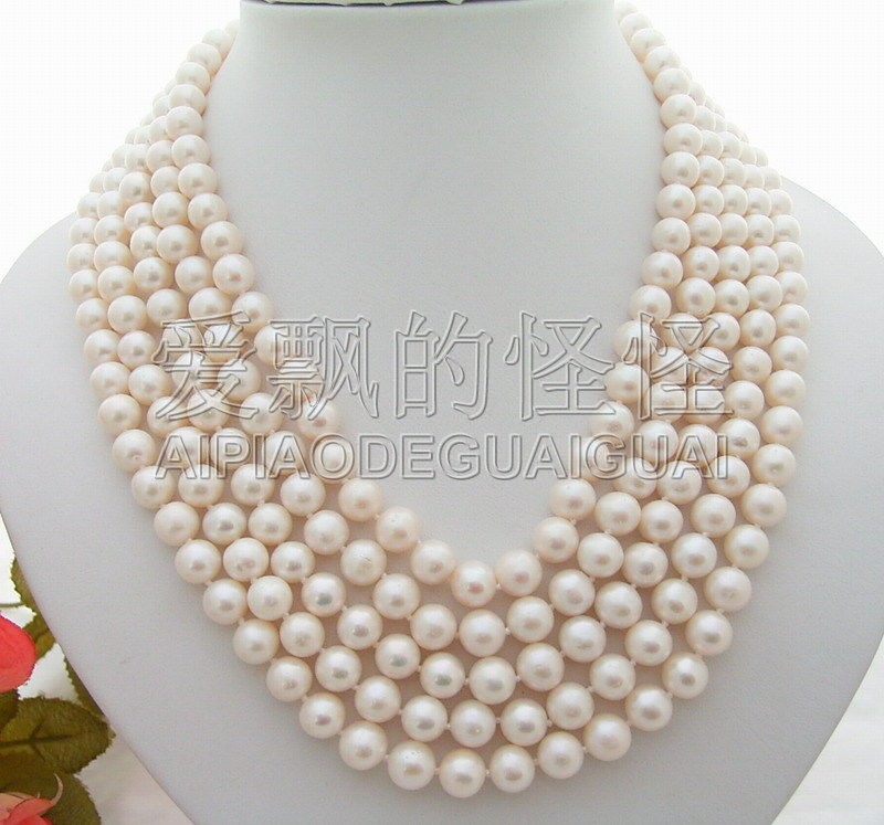 N070169 collier de perles blanches 17 5 brins 9mm-fermoir en argentN070169 collier de perles blanches 17 5 brins 9mm-fermoir en argent