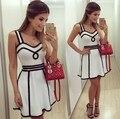 2016 verano nuevo cordón del color sólido Vestido para mujer del Vestido del Club Vestido de patinadora Vestido Little White Dresses moda de ropa del chaleco del Vestido