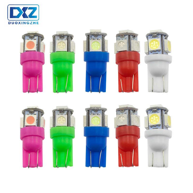 DXZ ランパーダ t10 5050 5 led can バスエラー赤 w5w カーインテリアライトオートウェッジクリアランスランプナンバー読書駐車電球