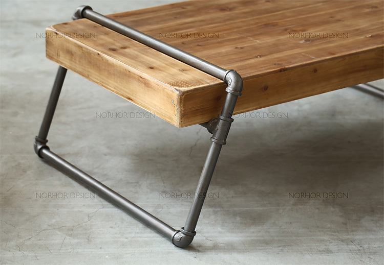 american pine wood tea table iron pipes boutique style long table