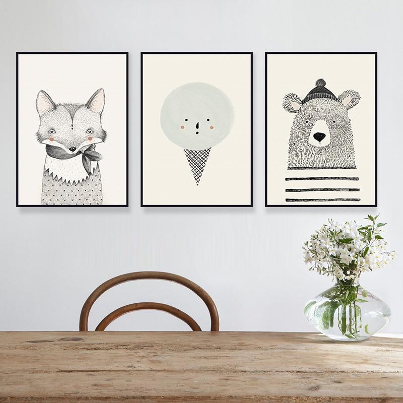 3Pcs Animale Pictură cu ulei imprimate pe panza Imagini de perete - Decoratiune interioara
