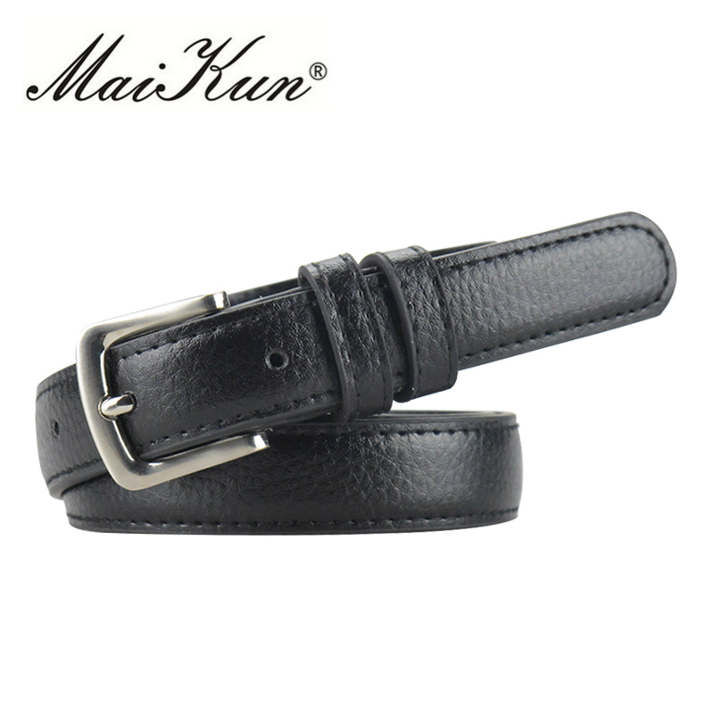 MaiKun Thin Belts for Women belt Luxury Brand Leather Female Belt Metal Pin Belt Buckle