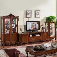 Античная высокое гостиной деревянная мебель жк телевизор стенд установлен 10285