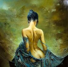 1 panel womans back classic oil painting canvas printing wall art template decorative framed XJZFX-24