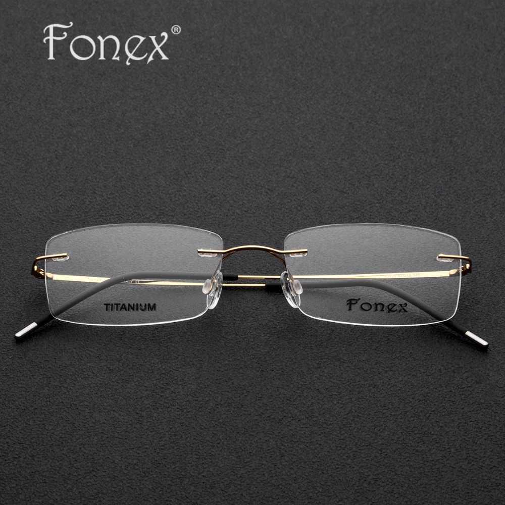 e263adb946 ... Rimless Titanium Glasses Frame Men Ultralight Square Prescription  Eyeglasses Women Light Frameless Myopia Optical Frames Eyewear ...