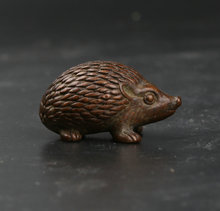34MM/1.3 Collect Curio Rare Chinese Fengshui Bronze Lovable Animal Rrinaceus Earopaeus Hedgehog Statue Hedgepig Statuary 45g