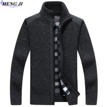 HENG JI Winter wear men's sweater with thick zipper warm cardigan, casual long-sleeved knit, high quality, free shipping
