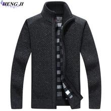 HENG JI Winter wear men's sweater with thick zipper warm cardigan, casual long-sleeved knit, high quality, free shipping