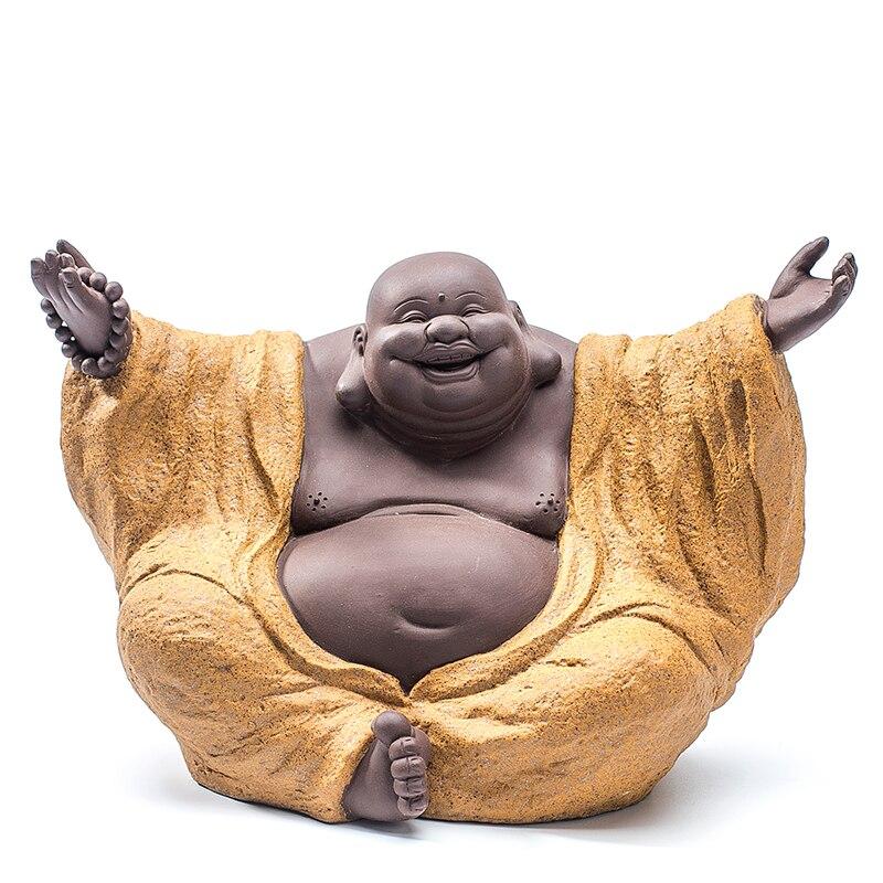 Cerâmica fina Barriga Laughing Buddha Buda Maitreya Escultura Ornamento de Cerâmica Mobiliário Doméstico Artesanato Criativo Presente Da Arte Trabalho