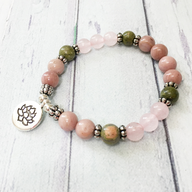 Bracelet Rhodonite Et Unakite