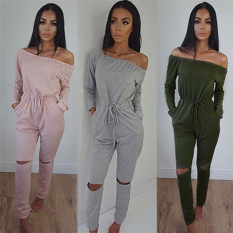 Sexy Women Solid Casual Jumpsuit Off Shoulder Long Sleeve Women Autumn Clubwear Hole Knees Fashion One Piece Playsuit For Women