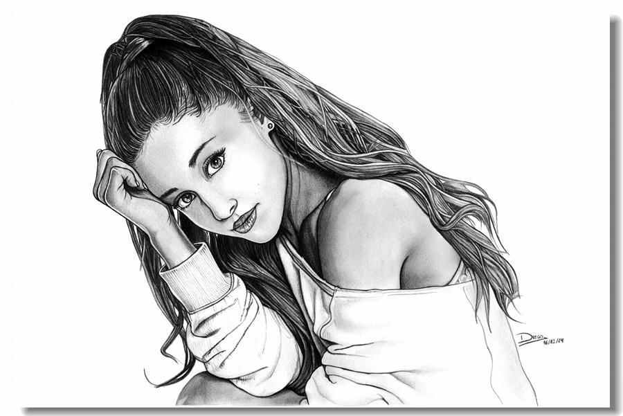 Ariana Grande Black And White Drawing - Ariana Grande Songs