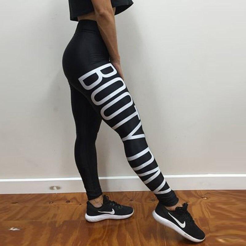 234c638ee0d16e Leggings Letter Print Women Black Slim Leggings Booty Elastic Dry Quick Workout  Sporting Long Pants ...
