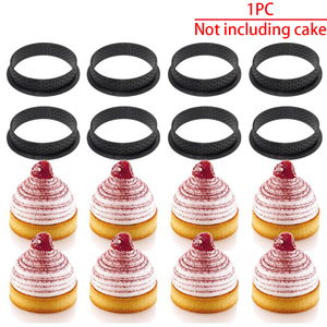 Image 2 - 1PC DIY French Dessert Bakeware Cutter Round Shape Decorating Tool Cake Mold Tart Ring Silicone Perforated Mousse Circle Kitchen