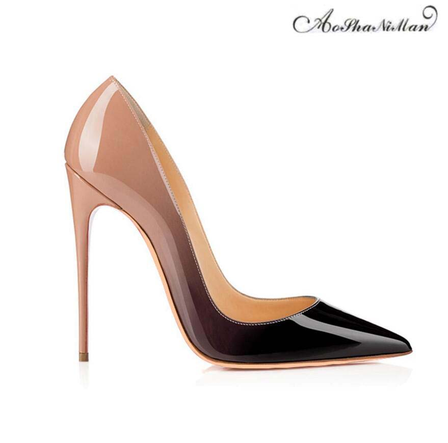 Brand designer fashion woman Shoes spring high heels pointed toe stilettos patent leather thin heel shoes for women  34-42 2016 spring designer women shoes 6 colors thick heel patent leather slip on pumps brand designer quality dress shoes with buckle