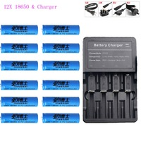 12x 3.7v 18650 battery Lithium Rechargeable Battery+ 18650 Multi four Charger 16340 14500 CR123A Charger Flashlight batteries