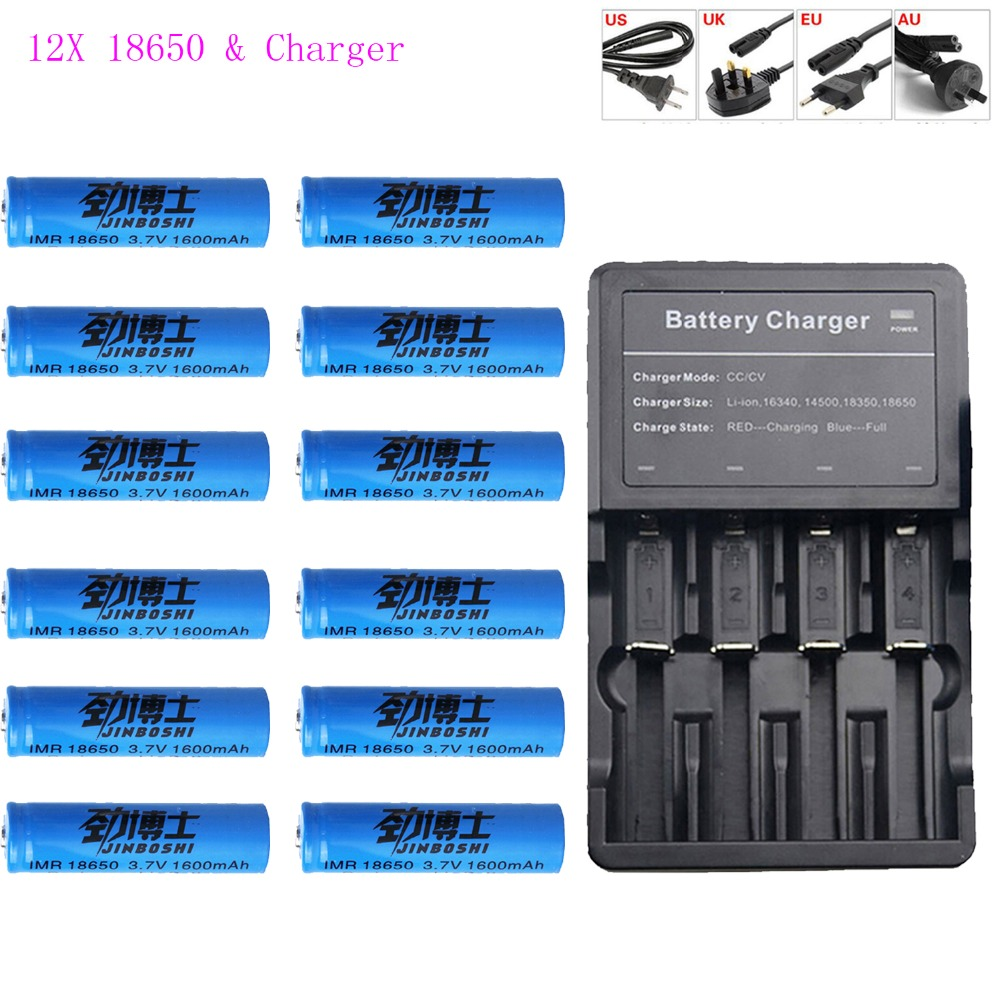 12x3.7 v 18650 batterie Lithium Rechargeable + 18650 multi-four chargeur 16340 14500 CR123A chargeur lampe de poche batteries