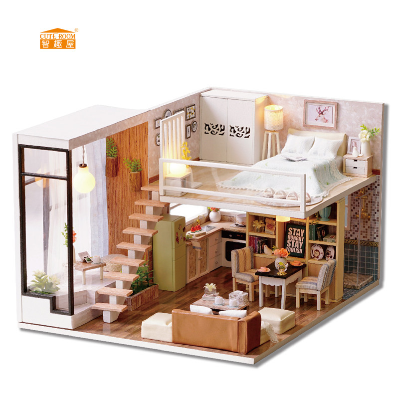 CUTE ROOM New arrival Miniature Wooden Doll House With DIY Furniture Fidget Toys For Kids Children Birthday Gift L020