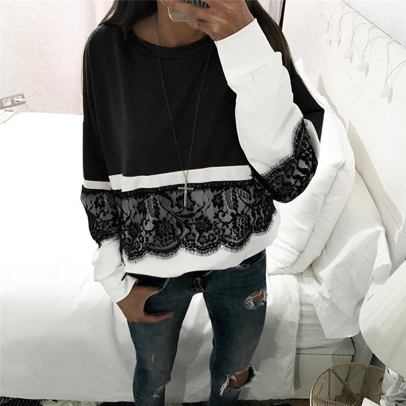 2018 Women Lace Patchwork Printed Long Sleeve Hoodies O-neck