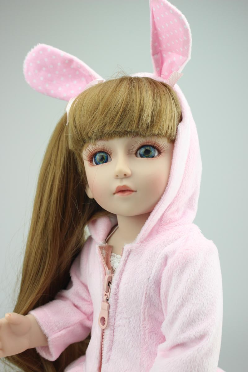 45cm 18'' vinyl lifelike SD BJD 1/4 princess doll toy with blue eyes for girl child birthday gift play house brinquedos new winter american girls doll full vinyl girl princess doll windbreaker coat lifelike toy 18 inch 45 cm perfect birthday gift