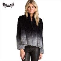 BFFUR Высокое качество Натуральная вязаная шуба из кроличьего меха зимняя женская меховая верхняя одежда, пальто, куртка короткая постепенна
