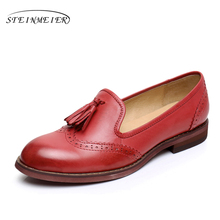 Sheepskin leather flat shoes ladies United States size 9 handmade brown blue red 2017 vintage round Toe British design oxford shoes for ladies