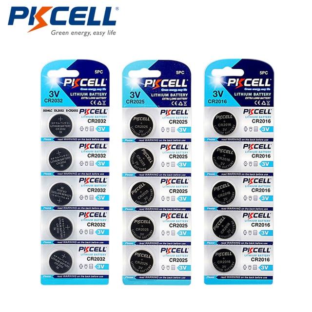 PKCELL 5Pcs/1Cards CR2032 5004LC 220mAh+5Pcs/1Cards CR2025 5003LC 150mAh+5Pcs/1cards CR2016 5000LC 75mAh 3V Lithium Button Cell