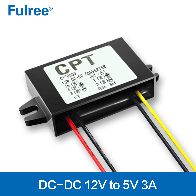 CPT 12Vdc to 5Vdc Converter <font><b>12V</b></font> to 5V 3A 15W DC DC Step Down Converter <font><b>12</b></font> Volt to 5 Volt 3 <font><b>Amp</b></font> 15 Watt Buck Car <font><b>Power</b></font> <font><b>Supply</b></font> image
