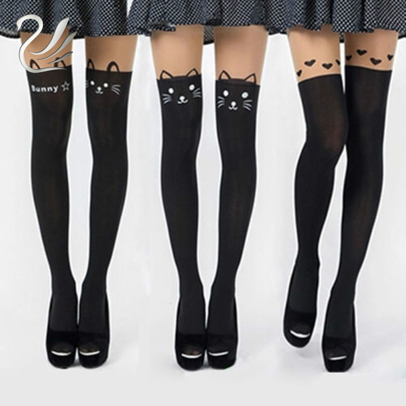 Hot Sale Womens Pantyhose Girls Sexy High Cat Slim Thigh High Hosiery Over The Knee Pantyhose High Medias Silk Stockings