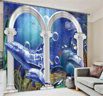 Luxury Beautiful Whale 3D Blackout Window Curtains For Bedding room Living room Home Wall decorative Hotel Drapes Cortinas