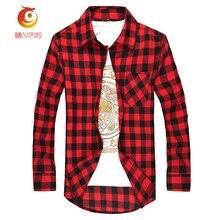 Фотография Young Man Casual Plaid Shirt Men Long-Sleeved Brand Mens Clothing Social Plaid Shirt Men Slim Fit Cotton Shirt Leisure Styles