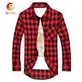 Young Man Casual Plaid Shirt Men Long-Sleeved Brand Mens Clothing Social Plaid Shirt Men Slim Fit Cotton Shirt Leisure Styles