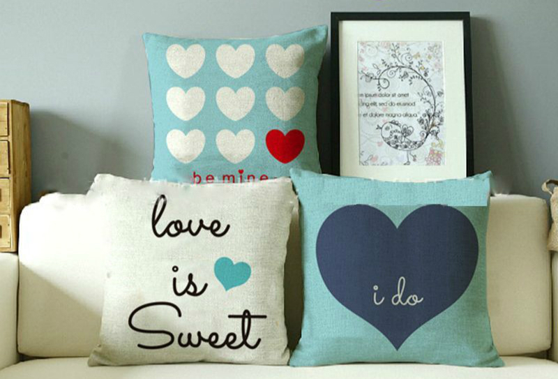 New Vintage Home Decor Love Quote Cushion Cover Sweet Linen Throw ...