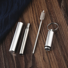 Portable Adjustable Stainless Steel Telescopic Drinking Straw With 1 Brush Travel Reusable BF
