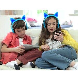 Image 5 - LIMSON przewodowe dzieci niebieskie słuchawki składane słodkie zwierzę ucho kota słuchawki do smartfonów komputer stancjonarny MP4